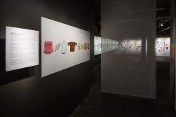 """Installed view of Silvia Levenson's """"Identidad Desaparecida"""" at Bullseye Projects, 2016. The international touring exhibition tells the story of the hundreds of children who were kidnapped during Argentina's Dirty War."""